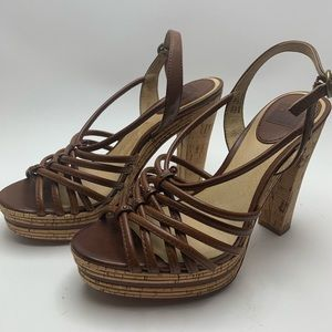 FRYE Lena Leather and Cork Strappy Sandal